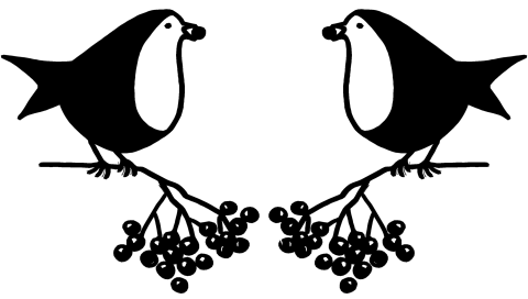 Black and white pen drawing for two robins facing each other and sitting on a sprig of berries.