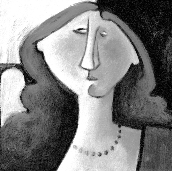 Lady in Pearls - monochrome painting of enigmatic lady with long hair looking to her right (your left, and maybe at you).