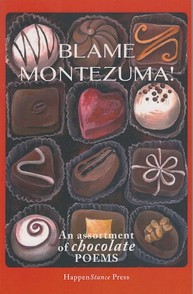 Cover of Blame Montezuma which is a full colour painting of the inside of a box of chocs. Delish.