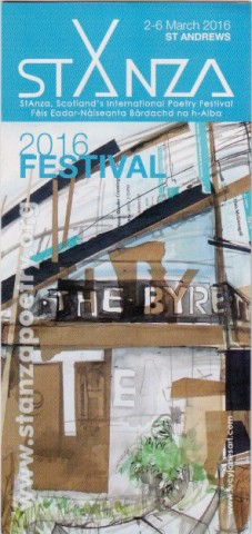 Scan of front of StAnza festival flyer, showing a photo of the Byre theatre in an arty format, with various bits of poetic text floating around on the windows and so on. The colours are sky blue, grey and white, which are the festival's usual theme colours