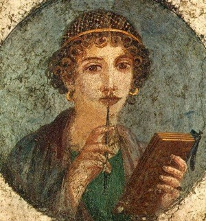 Ancient fresco picture of woman with pen in right hand and about to write on tablet in other hand. She is rather beautiful and in deep thought and supposed to be Sappho
