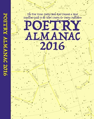 Jacket of the Almanac, which is cream in colour with a background of stars - with mapping of constellations -- but that is quite faint. You don't see it at first glance. To third in purple caps is POETRY ALMANAC 2016, centred. You also see a purple spine to the left with the same words in cream on purple background.