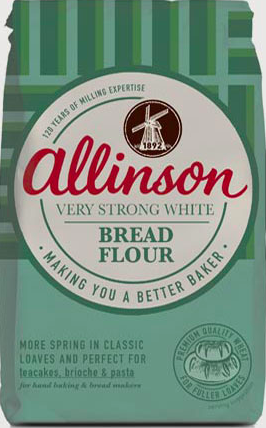 Photograph of packet of Allison's Very Strong White Bread Flour. The packet is green,with the text detail in large white circle in the middle. There is a graphic of an old windmill and Allinson is in large red cursive letters.
