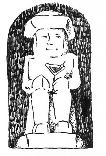 Monochrome image of little man, period, with large brimmed hat, sitting. He has a cocktail glassine his hand, the triangular kind, with a cherry on a stick.