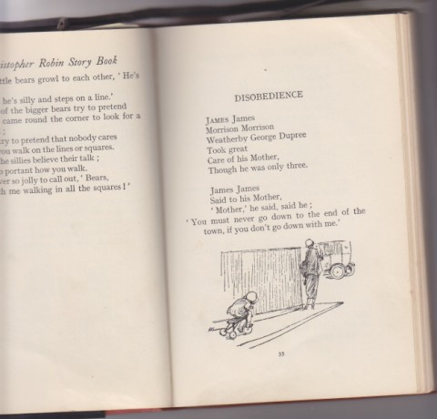 This is a scanned spread from A A Milne's The Christopher Robin Story book. It shows the first two stanzas of 'Disobedience', which is the James James Morrison Morrison poem. It's illustrated by a monochrome drawing of a lady disappearing around the corner. She is hotly pursued by a small child on a tricycle. It is an original E.H. Shepard illustration.