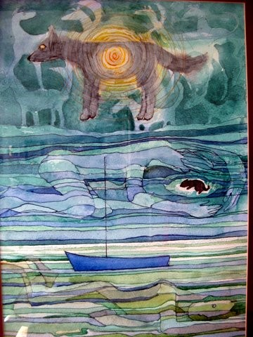 This is a full colour painting semi abstract with the dominant colours blues and greens. At the top there is the image of a dog standing sideways with bright golden eyes and something like a bright sun in the middle. Below this a sleeping girl, naked, with her arms around a sleeping puppy: the puppy is a silhouette. Below this there is an image of sea and land with a blue boat. Below this a human naked disappearing under the ways: it feels like an image of grief.