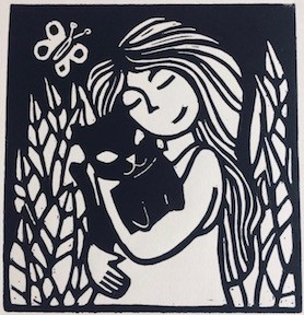 This is a monchrome lino cut. It shows a girl with long hair cuddling a black cat. Behind her leaves with vein patterns, and to her left a butterfly.