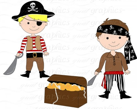 Cartoony pic of two little boys as pirates. One has a sash round his head (a bandana) and a red one round his waist. The other has a broad buckled belt, an eye patch and a pirate hat. Both have cutlasses and are grinning. There is a treasure chest of swag beside them. Downloaded from http://www.clipartpanda.com/categories/pirate-clip-art-free