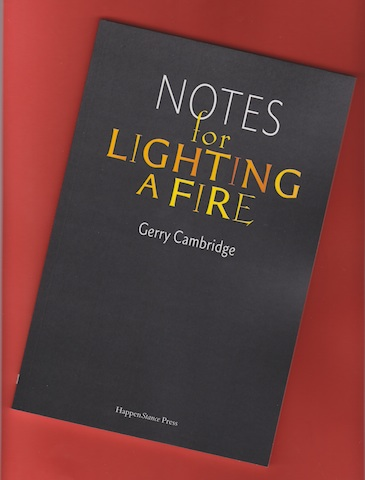 Jacket of Notes for Lighting a Fire, which is dark grey with typographical design. The lettering of the title is bold, yellowy orange, with the colours flickering like flames in the words LIGHTING A FIRE. Other words are white.